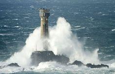 Waves Crashing On #Lighthouse in #Cornwall http://dennisharper.lnf.com/