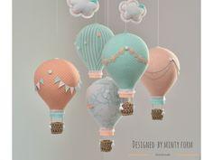 Mint Peach White Hot Air Balloon Mobile Travel Theme Nursery Decor Custom Mobile World Map