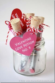 Love Potion Valentines with Free Printable Tags from thatswhatchesaid.net