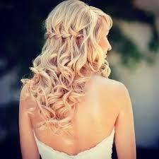 Waterfall braid with curls... this would look beautiful. I definitely also want to put in a tiara and some kind of veil with this style. My hair would remain red no blonde.