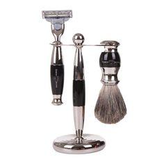 Discover the Edwin Jagger 3 Piece Shaving Set - Imitation Ebony & Nickel Plated at Amara - Blue Men Edwin Jagger, Shaving Set, Decorative Bells, 3 Piece, Plating, Men's Style, Beauty, Dapper, Gift Ideas