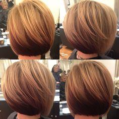 Short slightly stacked bob w/ highlights on dark blonde base w/ reddish brown tone underneath