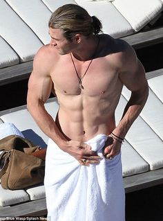 It's THOR'Sday!! WOOT! Chris Hemsworth (should never wear a shirt) Now you can go back to whatever you were doing with a smile on your face. :)