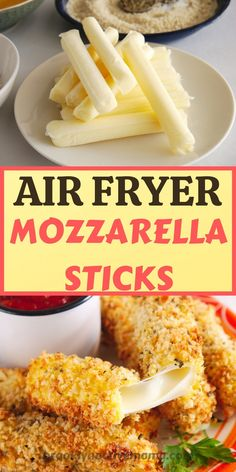 One of America's favorite snacks just became healthier with the air fryer. This recipe is so easy and full of delicious flavor. Makes a great snack, or appetizer for your party needs. Air Fryer Oven Recipes, Air Frier Recipes, Air Fryer Dinner Recipes, Appetizer Recipes, Recipes Of Snacks, Air Fryer Recipes Mozzarella Sticks, Healthy Mozzarella Sticks, Easy Healthy Appetizers, Roaster Oven Recipes