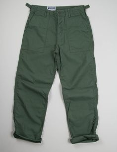 Engineered Garments Workaday Olive Reversed Sateen washed Fatigue Pant