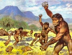Only Australopithecus Gets Mad For Fighting And Killings All The Rodent Oil Painting