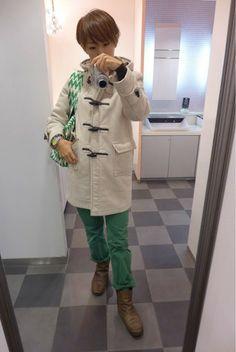 夏にも使ってたグリーンアイテム。 冬はこうやって使う!!  Coat/Gloverall Cardigan/MUJI Inner/ZARA Bottoms/GAP KIDS Bag/rosenbergcph Shoes/none  ブラウンとホワイトを合わせて冬のグリーン。