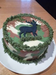 Deer Birthday Cake - Chocolate Lemonade Cake with Camouflage Buttercream and a fondant deer