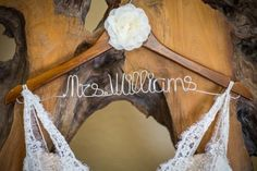 Mrs. Williams wedding hanger. Danielle and Jason's Outdoor Fall Wedding in Crested Butte, Colorado