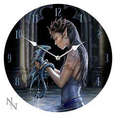 Anne Stokes Beautiful Elf With Water Dragon Wall Clock- Reloj De Dragon Y Ada