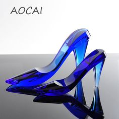 Clear Crystal Cinderella High Heel Shoes Novel Crystal Pumps Crafts For  Souvenir with Box for Wedding 01a6f5fbcb45