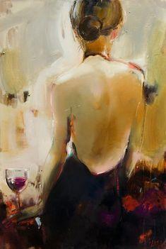 Glass of Wine by Elena Ilku. 24 x 36 - oil $4300 (thick canvas wrap without frame)http://www.elenailku.com/Paintings_files/Women/glassofwine-Elena%20Ilku.jpg