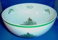 Spode Christmas Tree, Green Trim, S3324N, Salad Serving Bowl