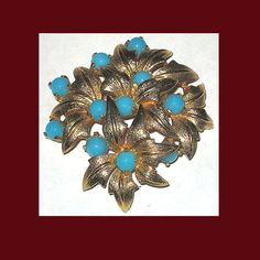 Let's Get Vintage - Additions New - VINTAGE JOMAZ Stunning turquoise flower brooch. Signed JOMAZ - Vintage Costume Jewelry