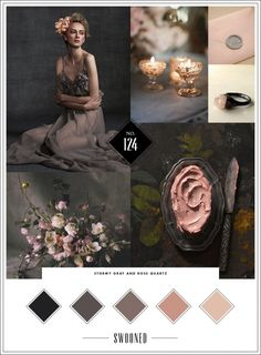 Mood Board #124: Stormy Gray and Rose Quartz. Beautiful colors. Mix in some metallics like silver or rose gold. Metals such as black wrought iron and mirror décor such as mercury glass. GORGEOUS.