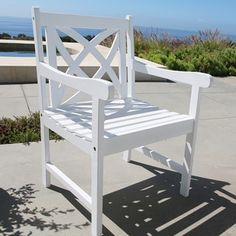 Shop for Bradley Eco-friendly Outdoor White Wood Garden Arm Chair. Get free delivery at Overstock.com - Your Online Garden & Patio Shop! Get 5% in rewards with Club O! - 18180852