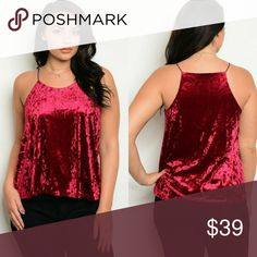"""Burgandy crushed Velvet Top 👜HOST PICK👜  Gorgeous! Now trending burgandy crushed velvet top.  Wear alone or with a cardigan for a holiday party, the office or out on the town.  Straps have some elasticity. Slightly lined inside the breast area and around back.   XL B: 40"""" W: 46"""" 2X B: 42"""" W: 48"""" 3X B: 44"""" W: 50"""" Tops"""