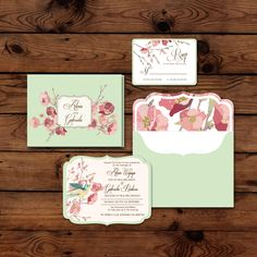 Lovely mint green and pink flowery wedding invitation idea | Project by Jolly's Little Dreams http://www.bridestory.com/jollys-little-dreams/projects/love-birds-sakura