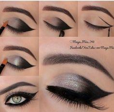 Black and silver smokey eye ¡i love this makeup! Mini-tuto