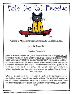 Pete the Cat K Scavenger Hunt- First day of school!