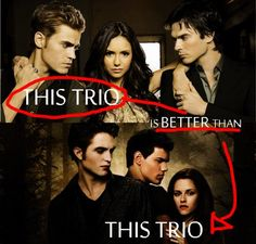 The Vampire Diaries is certainly better than Twilight, movie wise. Twilight books probably trump VD books.