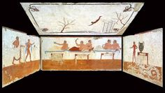 The Tomb of the Diver in Paestum, a gem of Greek painting - Italian Ways Tempera, Magna Graecia, Greek Paintings, Spiritus, Party Scene, Visual Aids, Mystery Of History, Roman Art, Historical Artifacts