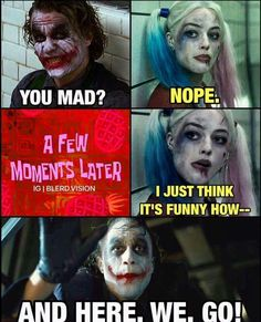 """Today we have a great collection of funny and funniest Memes for you. These """"Top 18 Funny Relationship Memes"""" are able to make you laugh so scroll down and keep reading these """"Top 18 Funny Relationship Memes"""". Harley And Joker Love, Joker And Harley Quinn, Really Funny Memes, Funny Relatable Memes, Funny Stuff, It's Funny, Funny Things, Hilarious, Frases"""