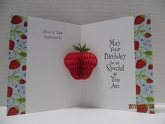 Love this honeycomb strawberry popup greeting card by #CarleneT #DevraParty #HoneycombCrafts