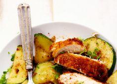 Crispy Parmesan Garlic Chicken With Zucchini
