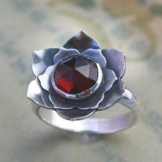Garnet Sterling Silver Cocktail Ring Lotus of the by KiraFerrer