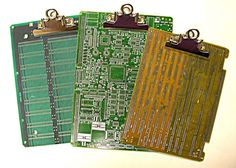 genius....literally...    Recycled Vintage CIRCUIT BOARD Medium Geek Office CLIPBOARD. $17.50, via Etsy.