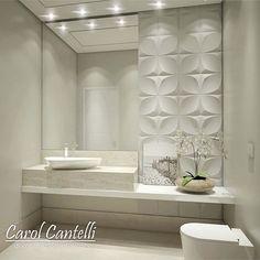 WEBSTA @ carolcantelli_interiores - Lavabo Clean com Revestimento 3D!!  AMO!! Ahhh quem não viu no Snap…