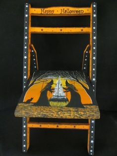 Hand-painted* Vintage Wooden child's Chair* Halloween* Witch* Black Cat