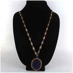Pre-owned 14K Yellow Gold & Lapis Necklace (3,605 NZD) ❤ liked on Polyvore featuring jewelry, necklaces, 14k necklace, chain necklaces, 14k gold jewelry, gold necklace and gold fine jewelry