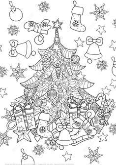 Christmas Tree Zentangle Coloring Page Free Printable