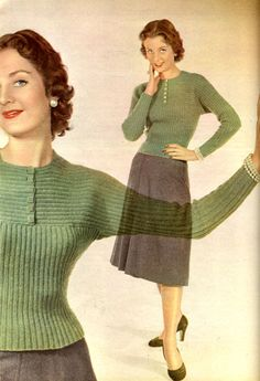 1950's Knitting - Buttoned & Yoked Jumper