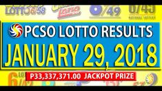 PCSO Lotto Results - January 29, 2018 | 6/55, 6/45, 4D, SWERTRES & EZ2 L... Lotto Results, January 2018, December 26, July 24, Youtube, Youtubers, Youtube Movies