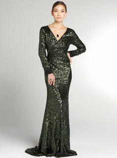 emerald sequin  long sleeve gown