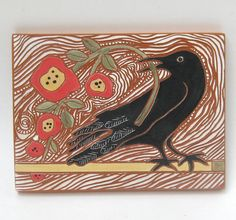 crow with red flowers  handcarved ceramic art by crowfootstudio, $45.00