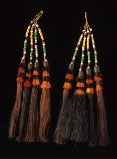 India | Earrings from the Namsangia-Naga people | Hair tassels, glass beads and plant fiber | 2nd half of the 19th century