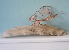 Butterfly White Sea Glass Driftwood and Copper by Cathie Palmer