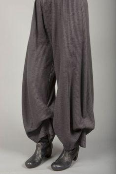 Textured Knit Billow Pants UnPrinted Dark Charcoal-Blue Fish Clothing