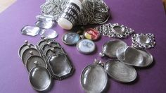 Antique Silver Photo Jewelry Pendant Charm Kit DIY by trusted, $40.00