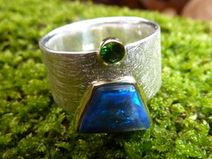 Ring Silber/Gold/Opal/Tsavorith - BLUE MOUNTAIN