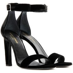 Saint Laurent Grace 80 Velvet Sandals (2.490 BRL) ❤ liked on Polyvore featuring shoes, sandals, heels, black, yves saint laurent shoes, yves saint laurent, black heeled shoes, kohl shoes and velvet shoes