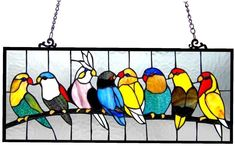 Stained Glass Window Panel Tiffany Style Hanging Suncatcher Birds Wall Art Decor | Pottery & Glass, Glass, Art Glass | eBay!