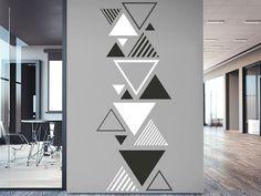 Wandtattoo Zweifarbiges Dreieck Ornament Order the Wall Decal Triangle Ornament here. Simple Wall Paintings, Creative Wall Painting, Wall Painting Decor, Diy Wall Art, Bedroom Wall Designs, Wall Decor Design, Wall Art Designs, Geometric Wall Paint, Wall Paint Patterns