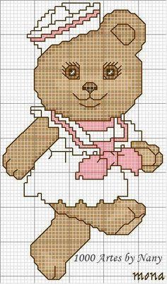 Sailor Bear Girl in Pink .ru / Фото - μικυ μ& - ergoxeiro Cross Stitch Baby, Cross Stitch Animals, Embroidery Patterns, Cross Stitch Patterns, Broderie Simple, Baby F, Bear Girl, Cross Stitch Pictures, Fabric Dolls