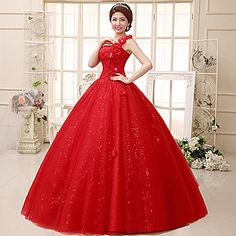 Ball+Gown+Wedding+Dress+Floor-length+One+Shoulder+Lace+/+Tulle+with+–+USD+$+49.99