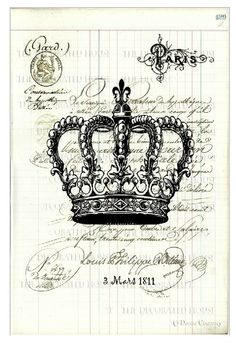 Framed Print - Victorian Vintage French QueenS Crown (Gothic Picture Poster) & Garden Diy Vintage, Images Vintage, Vintage Labels, Vintage Ephemera, Vintage Paper, French Vintage, Printable Vintage, Etiquette Vintage, Foto Transfer